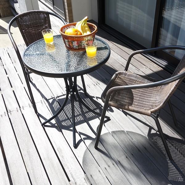 ラタン調ガーデンチェアー ラタン調ガラステーブル ガーデンセット ガーデンテーブルセット アジアン 家具 ナチュラル 自然 ガラステーブル 椅子 チェアー
