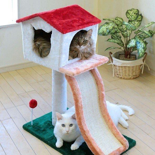 キャットハウス つめとぎ 2段 滑り台 すべり台 キャットタワー コンパクト スリム 省スペース 猫じゃらし ネコ もこもこ|usagi-shop