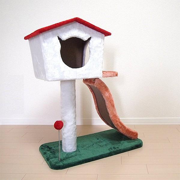 キャットハウス つめとぎ 2段 滑り台 すべり台 キャットタワー コンパクト スリム 省スペース 猫じゃらし ネコ もこもこ|usagi-shop|02