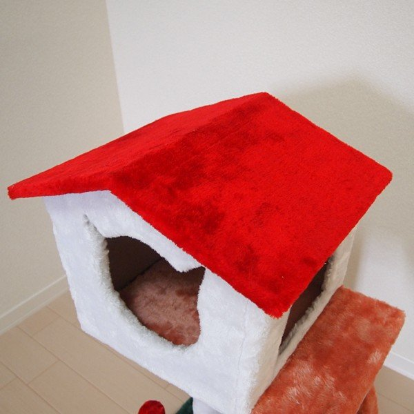 キャットハウス つめとぎ 2段 滑り台 すべり台 キャットタワー コンパクト スリム 省スペース 猫じゃらし ネコ もこもこ|usagi-shop|03