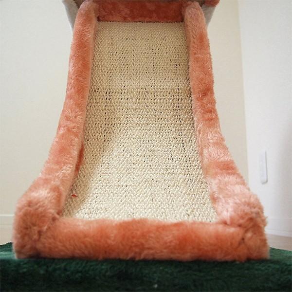 キャットハウス つめとぎ 2段 滑り台 すべり台 キャットタワー コンパクト スリム 省スペース 猫じゃらし ネコ もこもこ|usagi-shop|05