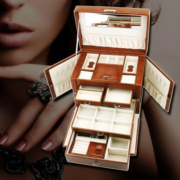ジュエリーボックス 大容量 鍵付き 宝石箱 持ち運び コンパクト|usagi-shop