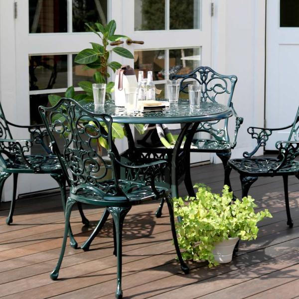 ガーデンセット 5点セット ガーデンチェア ガーデンテーブル 円形 丸型 アルミ製 椅子 ヨーロピアン 北欧 南欧 レトロ アンティーク調 庭 屋外 テラス ベランダ