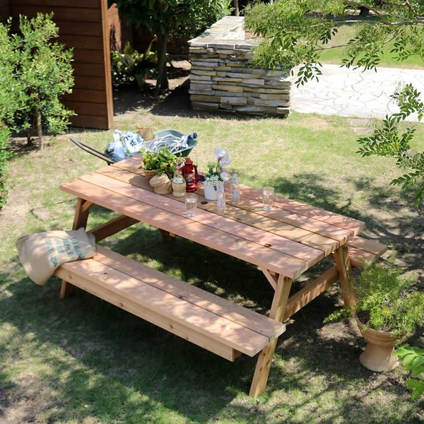 ガーデンテーブル ガーデニングテーブル 屋外 庭 ガーデニング 日本製 レッドシダー 木製 ピクニックテーブル パラソル穴付き パラソル穴あり 大型 大型 サイズ
