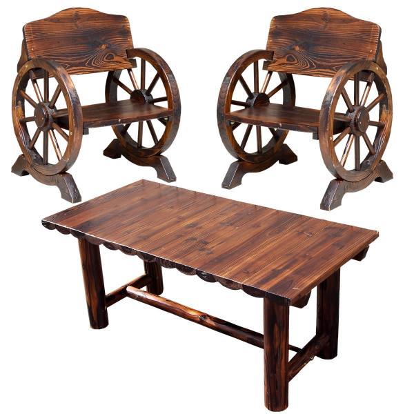 ガーデンセット ガーデンベンチ 椅子 ガーデンチェア ガーデンテーブル 車輪型 木製 ウッド 天然木 焼杉 モダン おしゃれ ビンテージ風 庭 玄関 ガーデニング