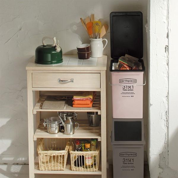ゴミ箱 おしゃれ リビング キッチン 小型 フタつき 蓋 ふた スリム 小さい 小さめ 取っ手付き 17L ごみ箱 インテリア カフェ風|usagi-shop|02