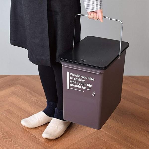 ゴミ箱 おしゃれ リビング キッチン 小型 フタつき 蓋 ふた スリム 小さい 小さめ 取っ手付き 17L ごみ箱 インテリア カフェ風|usagi-shop|07