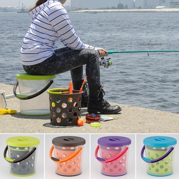 バケツ 座れる 釣り 二重構造 おしゃれ かわいい 多機能 すべり止め付き