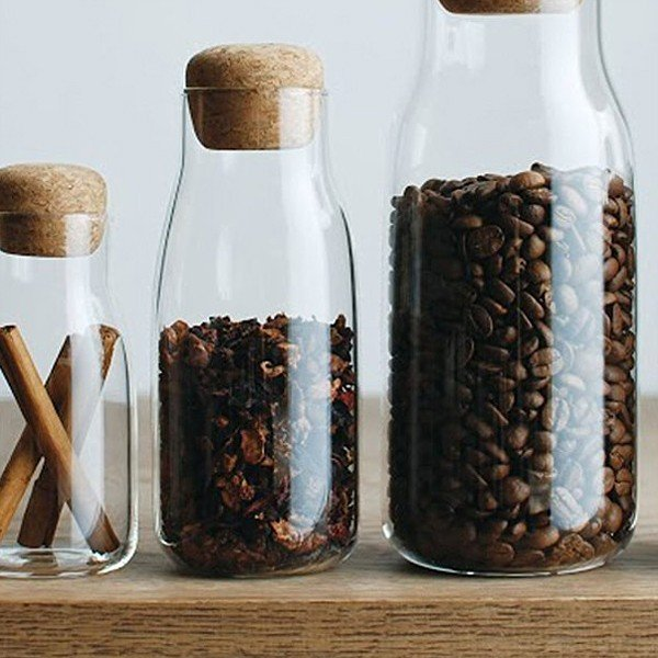保存瓶 耐熱ガラス オシャレ 密閉 ガラス製 コルク蓋 300ml 保存容器 調味料 コーヒー豆 シュガーポット ミルクピッチャー