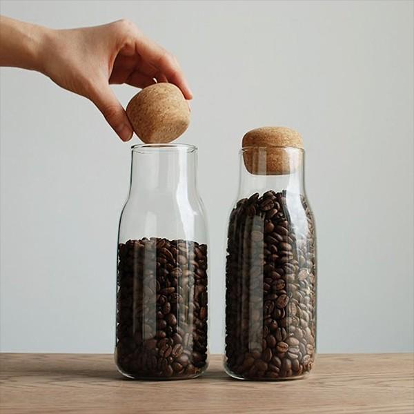 保存容器 瓶 耐熱ガラス コーヒー豆 保存 密閉 おしゃれ 透明 クリア 600ml