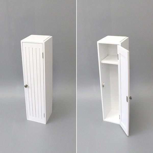 トイレラック 収納棚 スリム おしゃれ 壁 扉つき 2段 可動棚 白 ホワイト 北欧 取っ手付き|usagi-shop|02