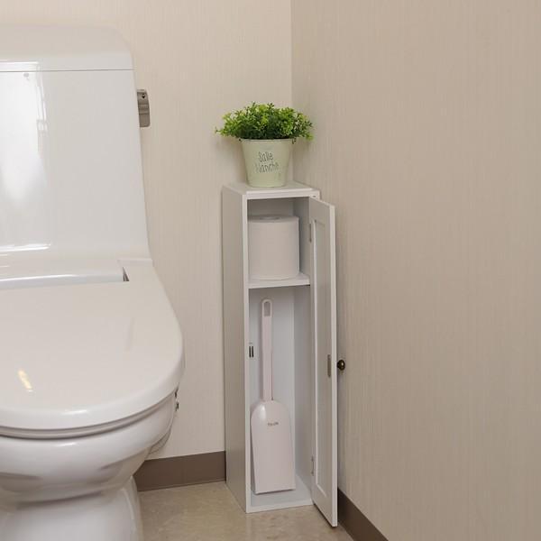 トイレラック 収納棚 スリム おしゃれ 壁 扉つき 2段 可動棚 白 ホワイト 北欧 取っ手付き|usagi-shop|03