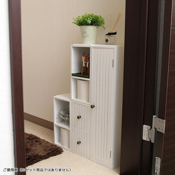 トイレラック 収納棚 スリム おしゃれ 壁 扉つき 2段 可動棚 白 ホワイト 北欧 取っ手付き|usagi-shop|05
