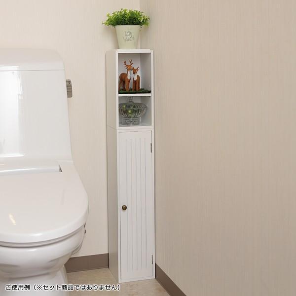 トイレラック 収納棚 スリム おしゃれ 壁 扉つき 2段 可動棚 白 ホワイト 北欧 取っ手付き|usagi-shop|06