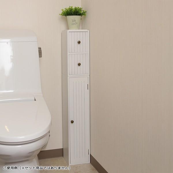 トイレラック 収納棚 スリム おしゃれ 壁 扉つき 2段 可動棚 白 ホワイト 北欧 取っ手付き|usagi-shop|07