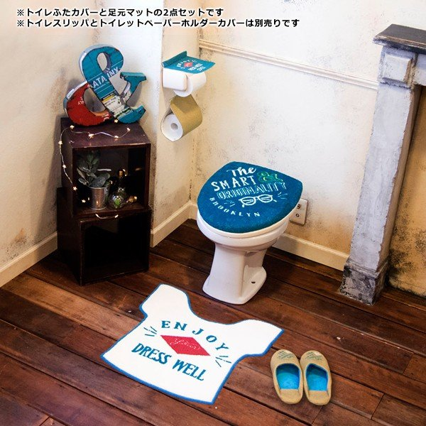 トイレセット 蓋カバー U型 O型 トイレマットセット おしゃれな 西海岸風|usagi-shop|06