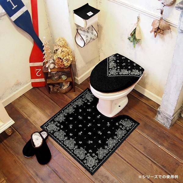 トイレマットのみ ペイズリー トイレマット 北欧 おしゃれ 黒 赤 青 ブラック レッド ブルー|usagi-shop|03