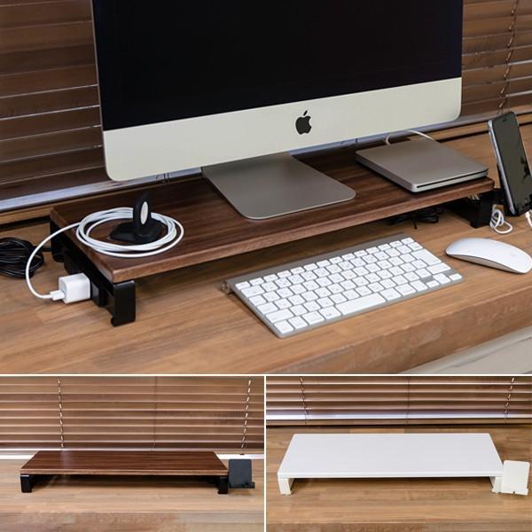 【今だけ!最大ポイント36倍】 パソコンモニタースタンド PCスタンド おしゃれ コンセント付き USB差し込み口付き|usagi-shop