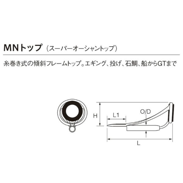 T-MNST6H-2.0 トップガイド SICガイド チタンフレーム スーパーオーシャントップ FUJI 富士工業 ロッドメイキング W15