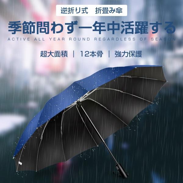 折りたたみ傘 12本骨 自動開閉 逆さ傘 大きい 逆さま傘 メンズ レディース 耐風 折り畳み傘 男女兼用 ワンタッチ 折れにくい 濡れない 晴雨兼用 遮光 撥水|usamdirect|02