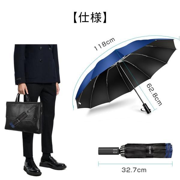折りたたみ傘 12本骨 自動開閉 逆さ傘 大きい 逆さま傘 メンズ レディース 耐風 折り畳み傘 男女兼用 ワンタッチ 折れにくい 濡れない 晴雨兼用 遮光 撥水|usamdirect|15