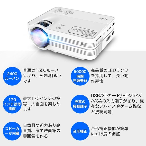 プロジェクター 小型 家庭用 1080P フルHD 2400ルーメン 高画質 スマホ パソコン スピーカー内蔵 立体音声 HDMIケーブル付属 台形補正 ホームシアター usamdirect 02