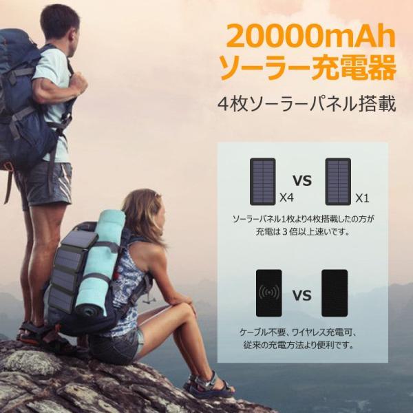 ソーラーモバイルバッテリー 20000mAh 大容量 モバイルバッテリー ワイヤレス充電 急速充電 ソーラー充電器 アウトドア 充電器 iPhone アンドロイド PSE認証済 usamdirect 02