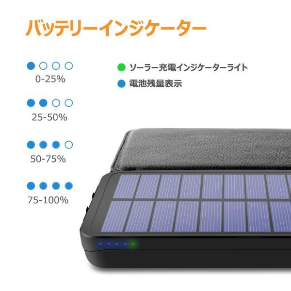 ソーラーモバイルバッテリー 20000mAh 大容量 モバイルバッテリー ワイヤレス充電 急速充電 ソーラー充電器 アウトドア 充電器 iPhone アンドロイド PSE認証済 usamdirect 03