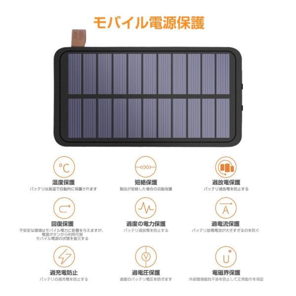 ソーラーモバイルバッテリー 20000mAh 大容量 モバイルバッテリー ワイヤレス充電 急速充電 ソーラー充電器 アウトドア 充電器 iPhone アンドロイド PSE認証済 usamdirect 04