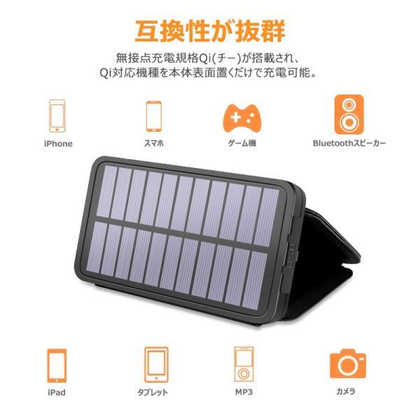 ソーラーモバイルバッテリー 20000mAh 大容量 モバイルバッテリー ワイヤレス充電 急速充電 ソーラー充電器 アウトドア 充電器 iPhone アンドロイド PSE認証済 usamdirect 07