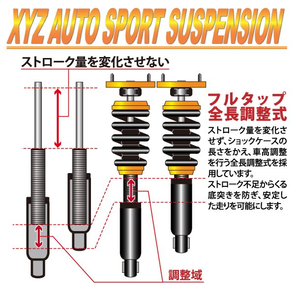 XYZ 車高調 RS Type ランエボ1 ランエボ2 ランエボ3 CD9A CE9A ミツビシ RS-MT17 フルタップ車高調 全長調整式車高調 30段階減衰力調整付車高調|usautotrading3|05