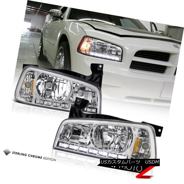 2004 2005 2006 PONTIAC GTO HALO LED CHROME PROJECTOR HEAD LIGHT BLUE DRL SIGNAL