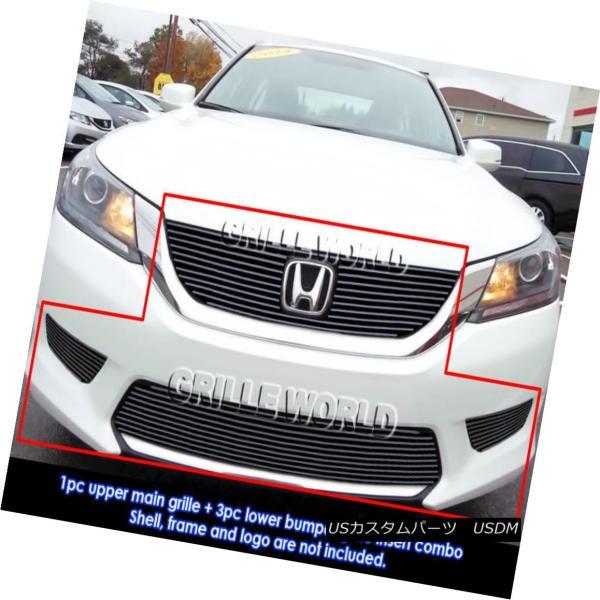 For 2013-2015 Honda Accord Sedan W// Fog Light Cover Billet Grille Combo