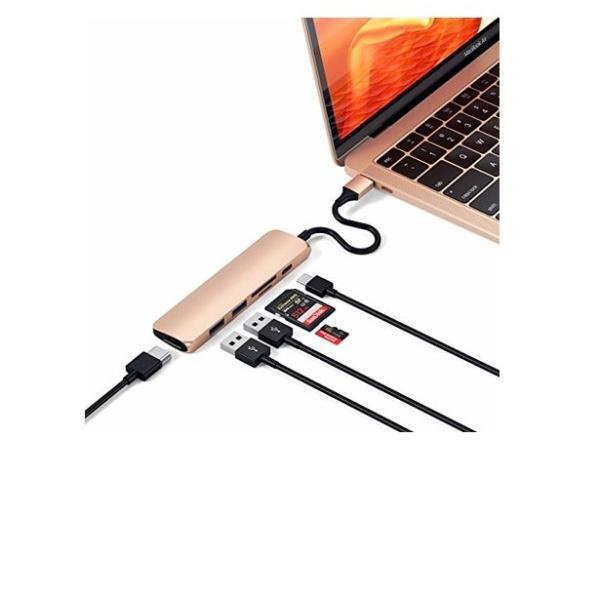 Satechi V2 スリム マルチ USBハブ Type-C 4K HDMI, カードリーダー, USBポート3.0x2(2019/2018 Mac|usefulforyou