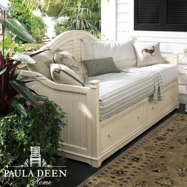 デイベッド (マットレス別売) フレンチ カントリー アンティーク調 シャビーシック クラシック レトロ おしゃれ かわいい 白 ホワイト 姫系 木製 ベッド シングルベッド ソファ 収納 寝室 子供部屋 Paula Deen UNIVERSAL