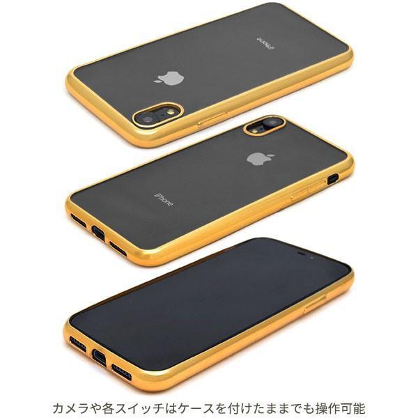 iPhone XR メタリックバンパー iPhone XS Max ソフトクリアケース カバー ジャケット 落下防止 シンプル おしゃれ アイホン xr|ushops|02