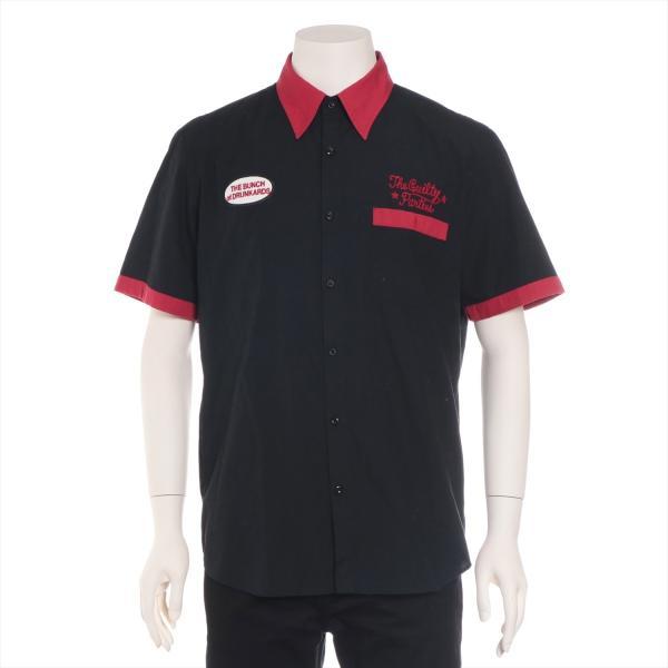 ワコマリア コットンxポリエステル シャツ XL メンズ ブラック ボーリングシャツ usus