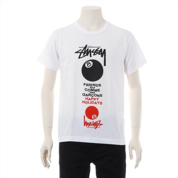 コムデギャルソンxステューシー コットン Tシャツ M メンズ ホワイト usus