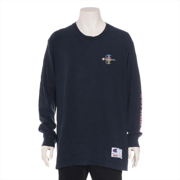 チャンピオンxシュプリーム コットン Tシャツ XL メンズ ネイビー 17AW  L/S Tee usus