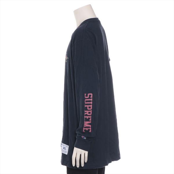 チャンピオンxシュプリーム コットン Tシャツ XL メンズ ネイビー 17AW  L/S Tee usus 02