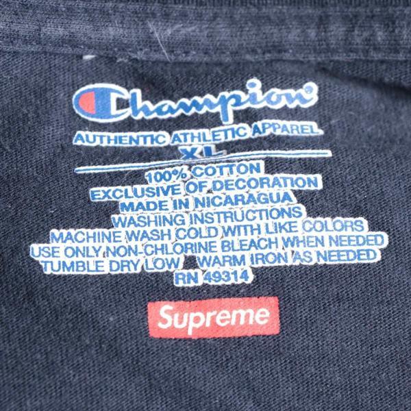 チャンピオンxシュプリーム コットン Tシャツ XL メンズ ネイビー 17AW  L/S Tee usus 05