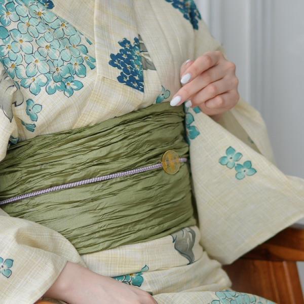 浴衣 セット レディース【ゆったりサイズ】3点セット(浴衣/帯/下駄)あじさい 紫陽花 先染めベージュ 水色 青 緑 麻混 3Lサイズ utatane 水色のあじさい|utatane|08