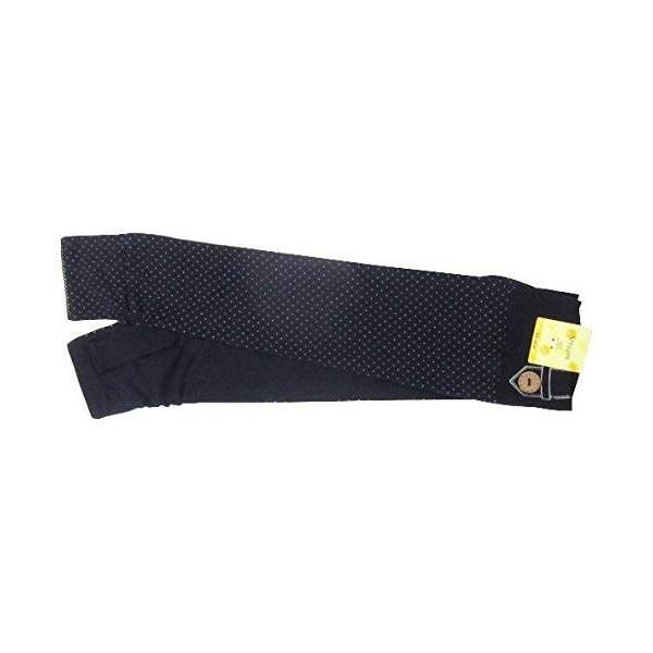 ツイン UVカット加工 手袋 天竺ドット飾りボタンロング指無手袋 ネイビー UV-132