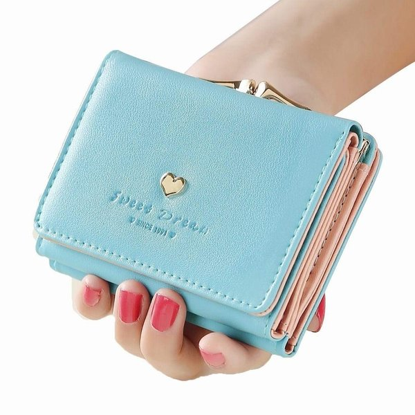 0afda50c2aec ... レディースミニ財布 人気 小さい財布 がま口付き 二つ折り財布 カワイイ レザー コンパクト ハート ウォレット ...