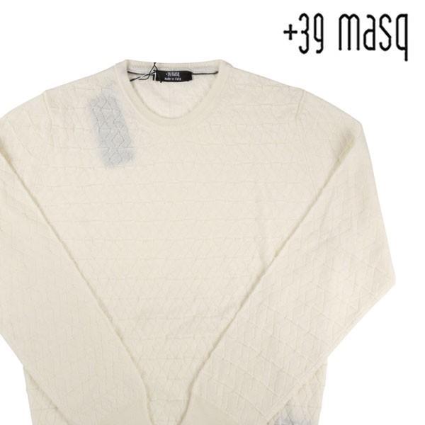 【M】 +39 masq マスク 丸首セーター メンズ 秋冬 ヴァージンウール100% ホワイト 白 並行輸入品 ニット|utsubostock