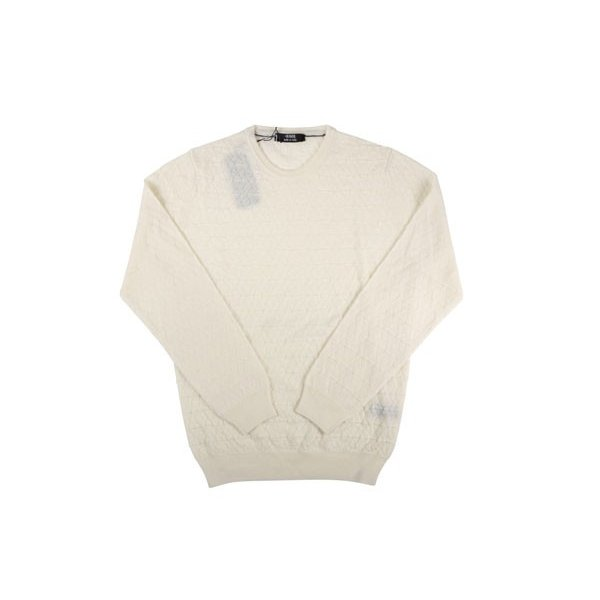【XXL】 +39 masq マスク 丸首セーター メンズ 秋冬 ヴァージンウール100% ホワイト 白 並行輸入品 ニット 大きいサイズ|utsubostock|02