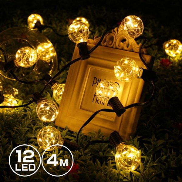 ストリングライト LED イルミネーション 電球 バルブ E11 12球 長さ4.5m 電球色 室内向け  電球型 ガーデンライト utsunomiyahonpo