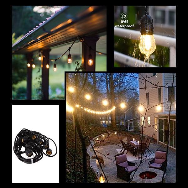 ストリングライト 屋外用 LED イルミネーション 電球 バルブ E26 LED15球 長さ14m 電球色 電球型 防水 防雨 ガーデンライト|utsunomiyahonpo|08