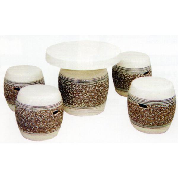 ガーデンテーブルセット(信楽焼陶器製5点)白松皮20号