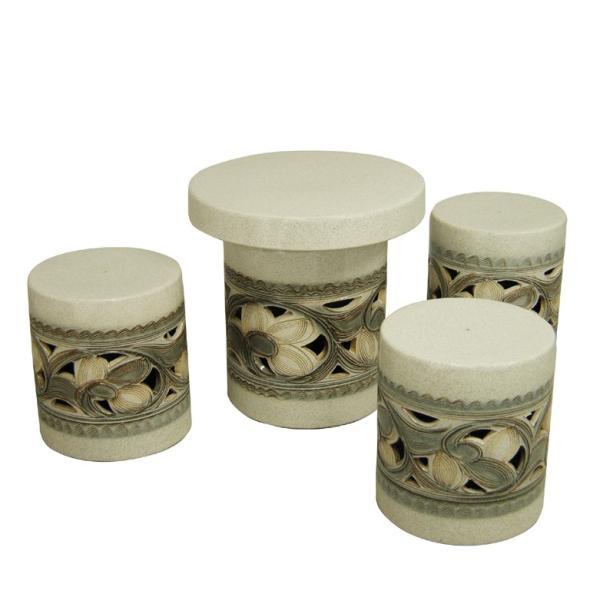 ガーデンテーブルセット(信楽焼陶器製4点)カスミ唐草・切立型15号
